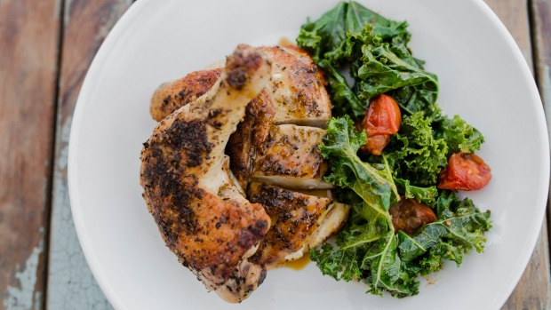 Organic roast chicken with kale and anchovy at Pulp Kitchen.