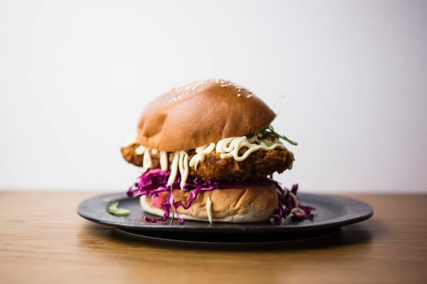 Curry katsu burger served at Edition Coffee Roasters in Darlinghurst.