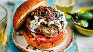 Anjum Anand's 'best-ever' spiced beef burger with crispy onions.