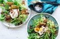 Salad Lyonnaise: A delicious Mediterranean bistro classic combining eggs, white vinegar, bacon, and lettuce.