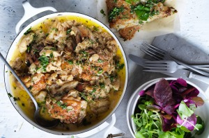 Delicious seasoned chicken simmered in crisp apple cider. Perfect for a hearty, warming meal.