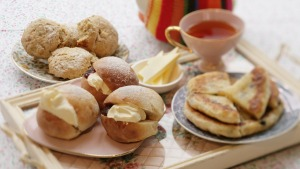 Clockwise: Stephanie Alexander's cheese scones, hinnies and devonshire splits (light yeast buns).