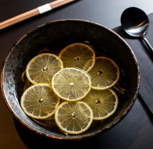 The soba noodles and lime.