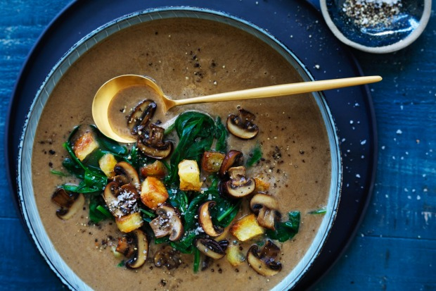 Brown mushroom and spinach soup with potato crouton cubes <a ...