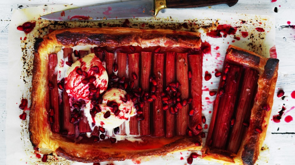 Jill Dupleix's rhubarb and pomegranate tart.