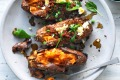 Pot o' gold: Jill Dupleix's baked sweet potato with chorizo cous cous.