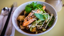 Broth bowl with salmon.