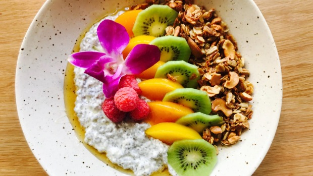House-made granola with yoghurt, local honey and fruit at St Kilda in Des Moines, Iowa.