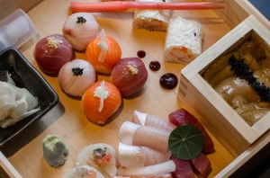 Deluxe sushi box served at Kisume Japanese restaurant in Melbourne.