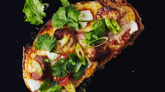My cheese on toast with chorizo. Images from cookbook 'Chefs east toasties too' by Darren Purchese (Hardie Grant June ...
