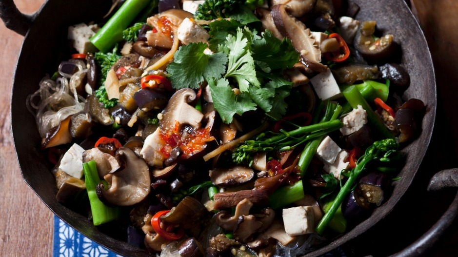 Tasty mushroom and tofu stir-fry.