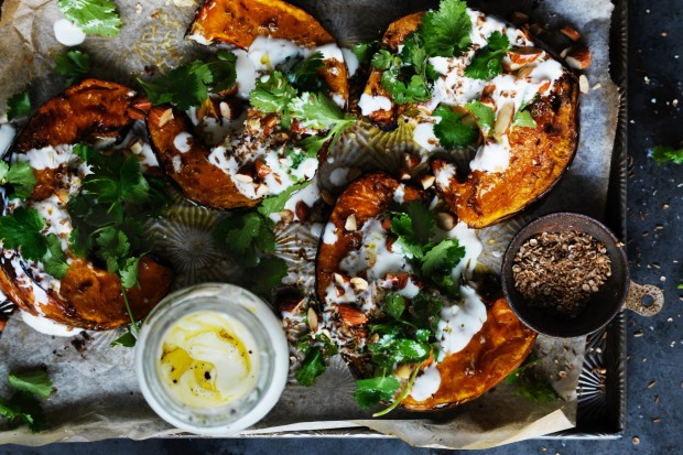 Neil Perry's spiced roast pumpkin with garlic and almonds <a ...