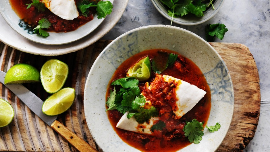 Steamed blue-eye trevalla with tomato curry.