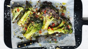 Adam Liaw's broccoli with chilli and parmesan.