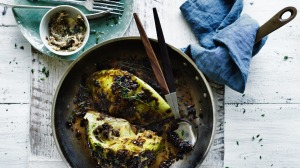 Roast cabbage with porcini and caramelised onion butter.