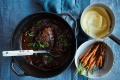 Braised beef cheeks with parsnip puree.