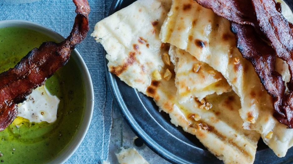 Garlic flatbread with pea and bacon soup.