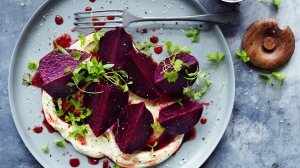 Wine-poached beetroot with mustard cream.