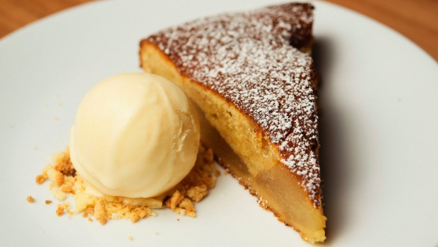 The almond and pear tart.