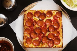 Pepperoni pizza, Detroit-style.