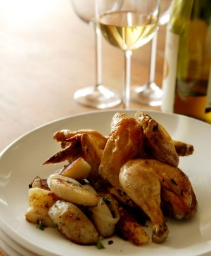 Chardonnay and chicken is a classic combo.