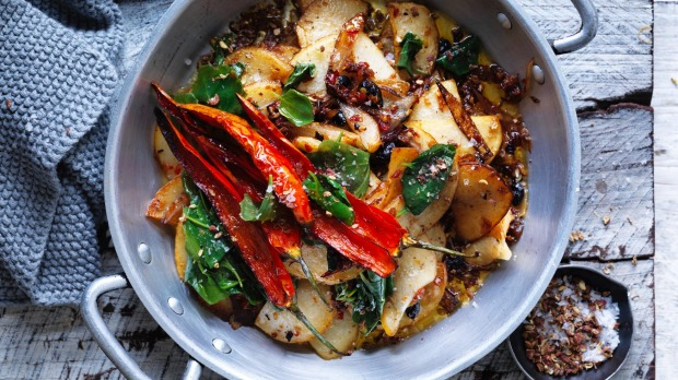 Dishes with native ingredients, such as this stir-fried potato with saltbush, will become more popular.