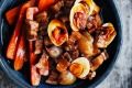 Pork belly, carrots and red shallots braised in red master stock (eggs optional).