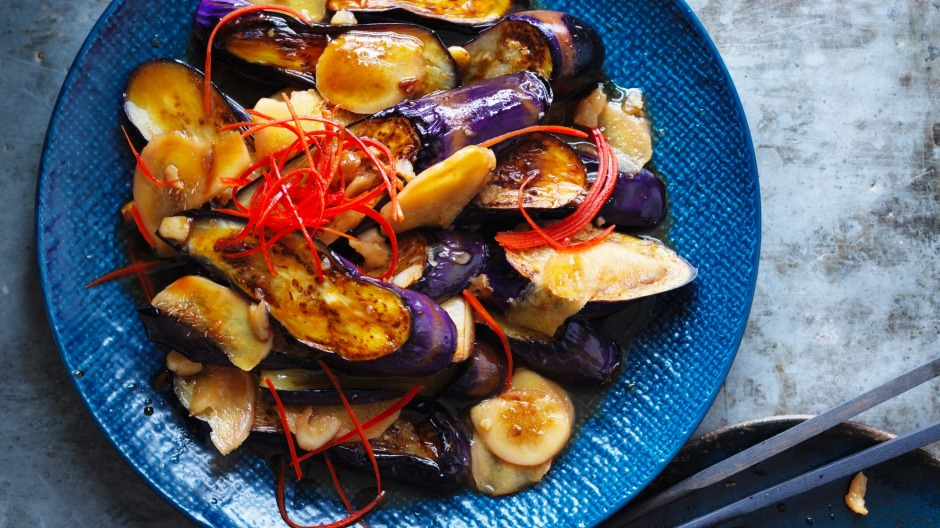Kylie Kwong's stir-fried eggplant with red chillies and ginger.