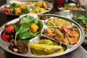 A shared platter from Tamil Feasts is served up at CERES' restaurant in Melbourne.