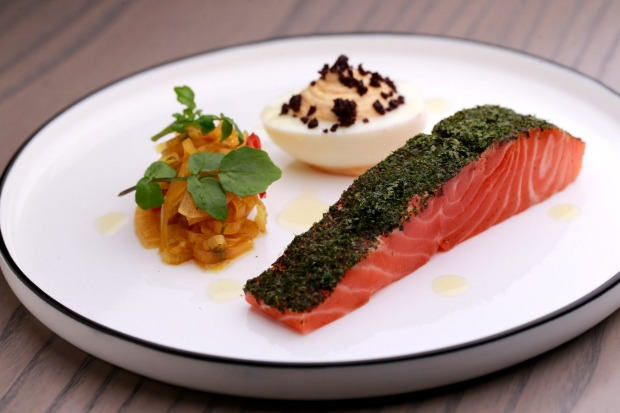 Smoked Petuna ocean trout, devilled egg and fennel pickle at Wilson & Market.