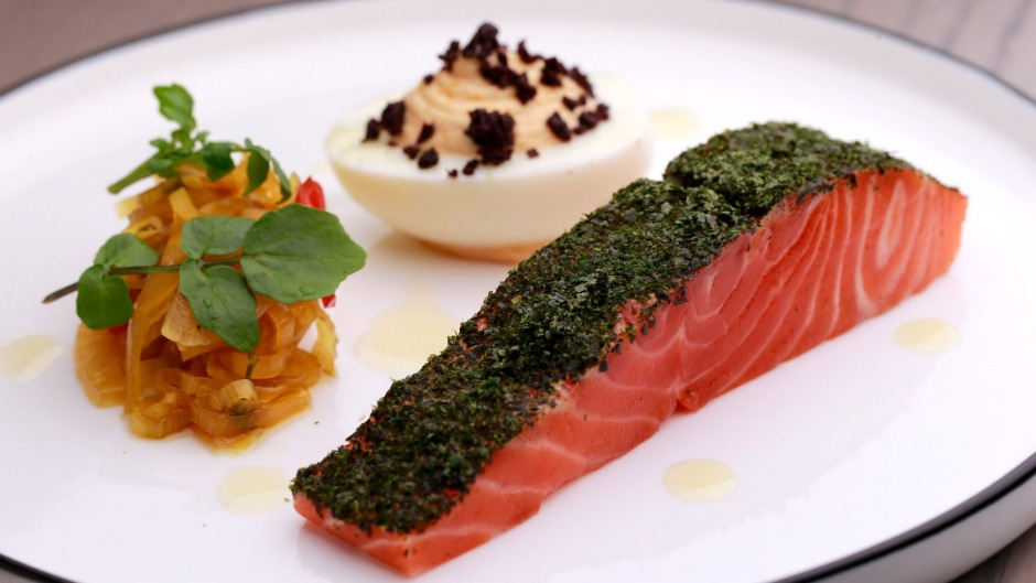 Smoked Petuna ocean trout, devilled egg and fennel pickle served at Wilson and Market Brasserie in South Yarra.