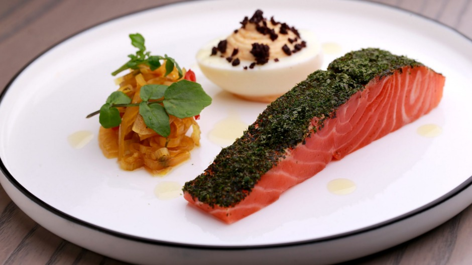 Smoked Petuna ocean trout, devilled egg and fennel pickle.