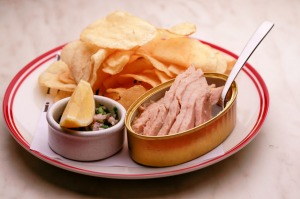 The tin of tuna belly with crisps.
