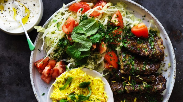 Persian pan kebabs with saffron rice.