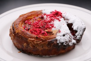 Rosewater, pastry cream and raspberry pastry.