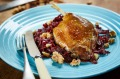 Slow-roasted duck leg with braised red cabbage and walnuts from City Larder.