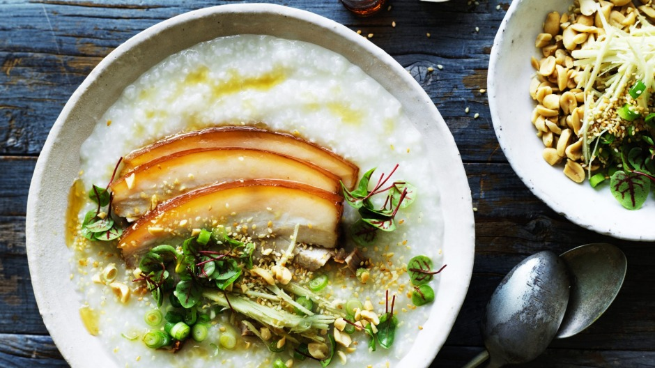Chinese comfort food: Pork belly congee with ginger and soy.