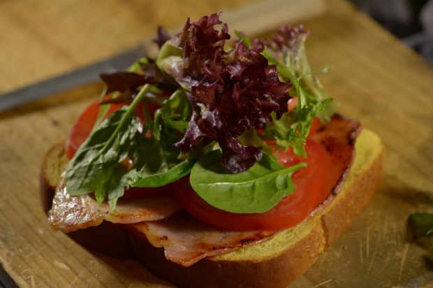 Classic BLT: 1 slice AVB Pumpkin & Sunflower Seed bread, 2 rashers short cut bacon, 2 leaves lettuce, 1 small tomato