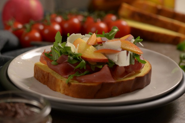 Prosciutto, peach,  pecorino and rocket: 1 slice AVB Pumpkin & Sunflower Seed bread, 50g prosciutto, 1/2 peach (or 10 ...