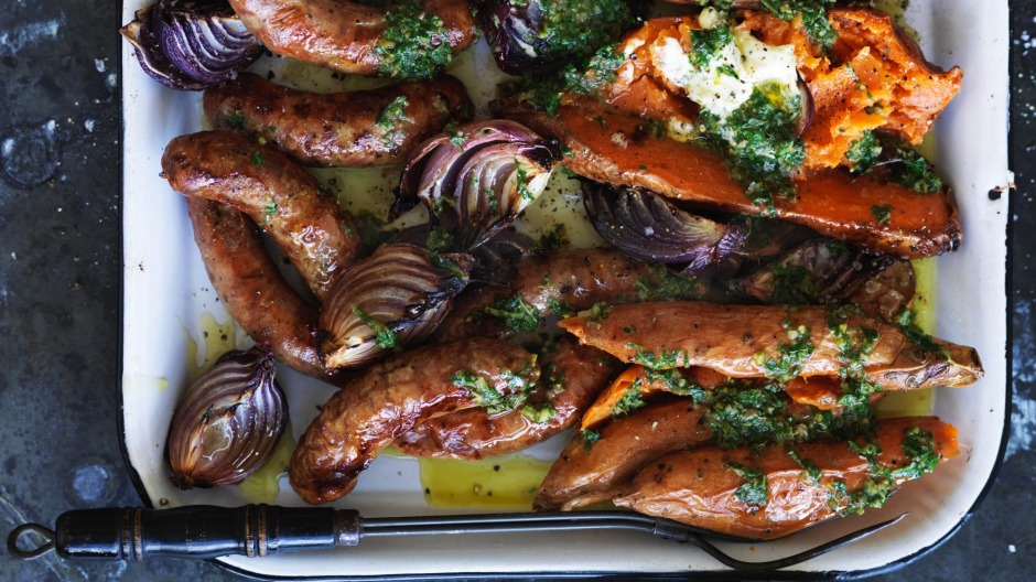 All-in-one dinner: Adam Liaw's baked sweet potato and sausage traybake.