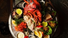 The spectacular seafood platter is enough for three or four to share.