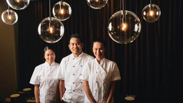 Owners Christina Uy, Jay Prieto, and Kim Cudia in the new Lolo and Lola at Watson