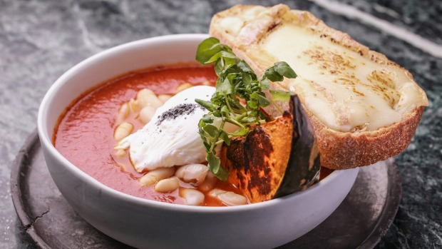 Wood-fired beans, pumpkin, poached egg and cheese toast.