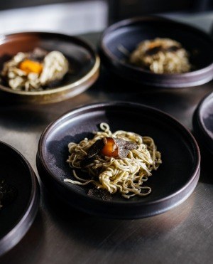 Pasta with truffle butter and truffled egg yolk at the Agrarian Kitchen in Tasmania.