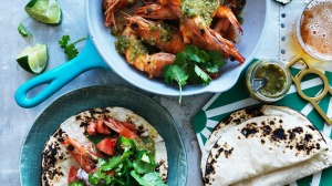 King prawns in green salsa.
