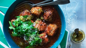 Mexican meatballs in spicy macha sauce.