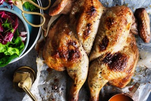 Butterflied chicken with ricotta, garlic and spice stuffing.