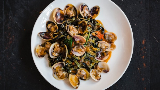 Saffron and squid ink linguine, Eyre Peninsula clams, tomato and basil at Lulu La Delizia.