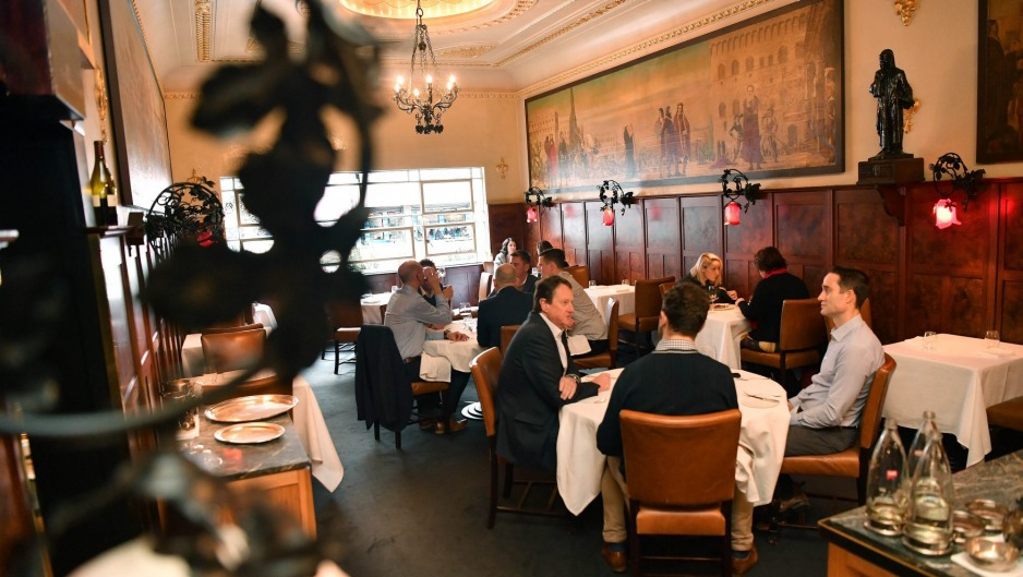 The grand dining room is still home of the lunchtime business deal.