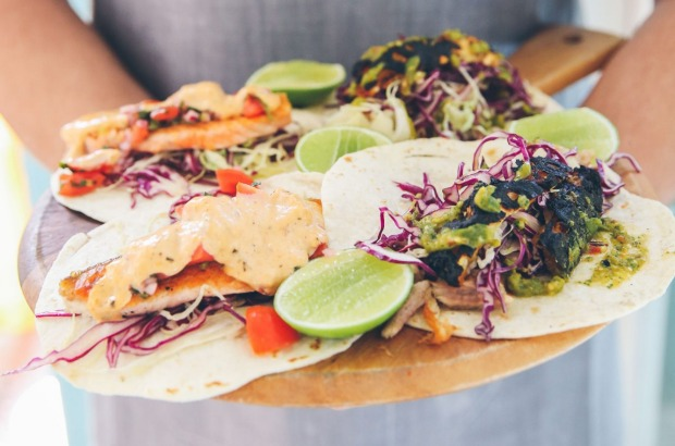 Seared salmon tacos and pulled pork belly tacos at Northies
